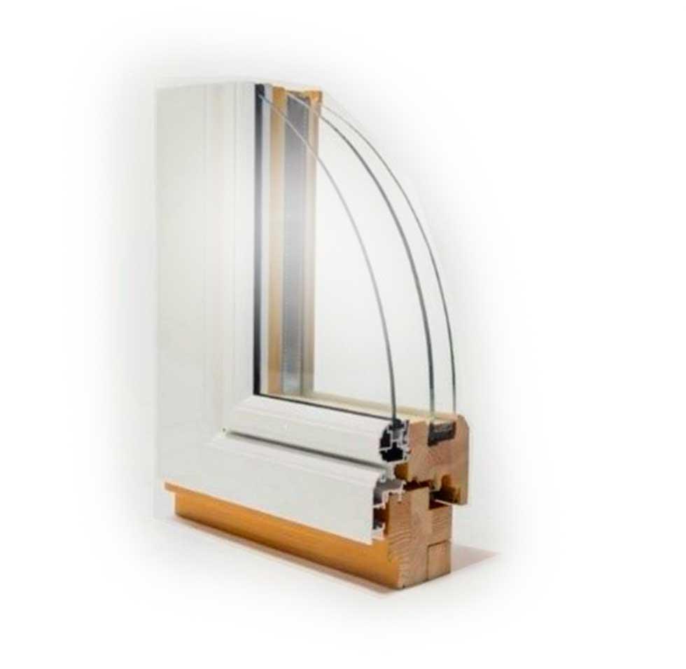 Дерево-алюминиевое окно  HOLZ-114+