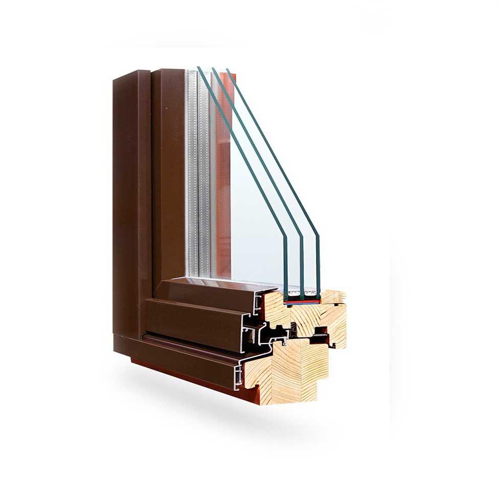 Профильная система дерево-алюминиевых окон  Optima-98