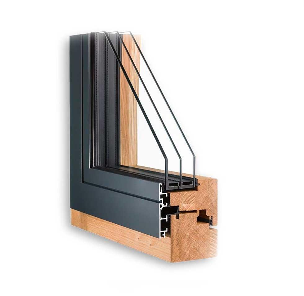 Современные окна из дерева  Trend-98+ с алюминиевой защитой